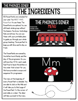 The Phonics Diner: Kindergarten Whole Group Lesson Plans and PowerPoints