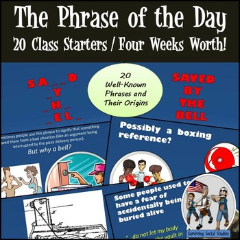 The Phrase of the Day - 20 Phrase Origins - Great for English or Social Studies!