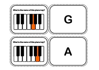 The Piano Keys Flash Cards or Flip Memory Game - White and Black Keys.