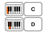 The Piano Keys Flash Cards or Flip Memory Game - White and