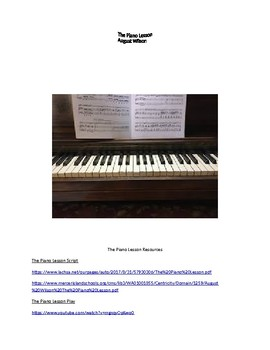 The Piano Lesson Supplemental Materials
