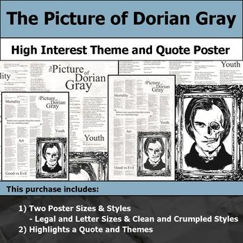 The Picture of Dorian Gray - Visual Theme and Quote Poster for Bulletin Boards