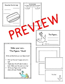 The Pigeon Finds a Hot Dog. Worksheets and Activities. Pigeon and Duckling
