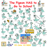 The Pigeon HAS to Go to School Mo Willems inspired huge clip art collection