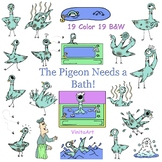 The Pigeon Needs A Bath Mo Willems inspired story book clip art