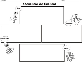 """The Pigeon"" Spanish Story Element (Graphic Organizers)"