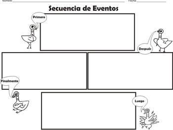 """The Pigeon"" Spanish Story Element (Graphic Organizers)"
