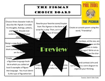 The Pigman Choice Board Novel Study Activities Menu Book Project with Rubric
