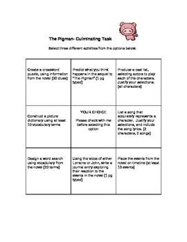 The Pigman- Final Task Choice Board