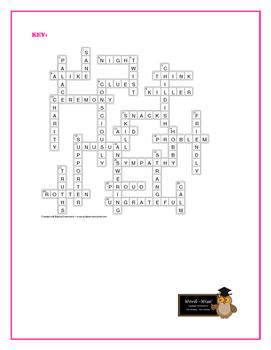 The Pigman: Synonym/Antonym Vocabulary Crossword—Unique!