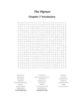 The Pigman Vocabulary Word Search for Chapter 7