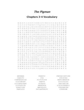 The Pigman Vocabulary Word Search for Chapters 3-4