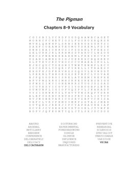 The Pigman Vocabulary Word Search for Chapters 8-9