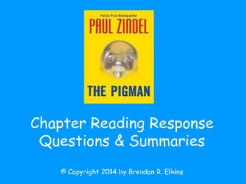 The Pigman by Paul Zindel Reading Response Questions