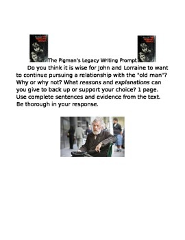 The Pigman's Legacy writing prompt