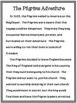 Thanksgiving Reading Comprehension The Pilgrims Adventure