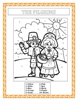 The Pilgrims-Color by Number & Thanksgiving Word Search- FUN Morning Work K-2