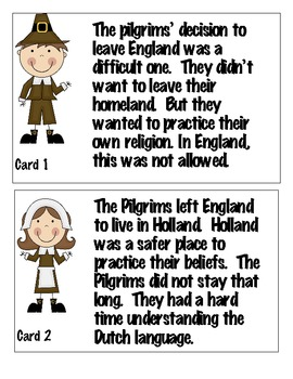 The Pilgrim's Journey Fact Cards