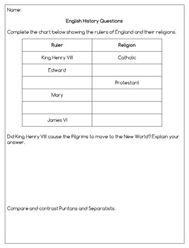 The Pilgrims: Reading Passages and Question Set