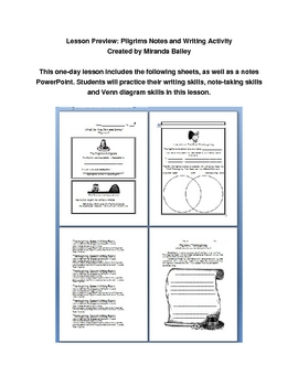The Pilgrims and Plymouth Colony: Notes and Writing Activity