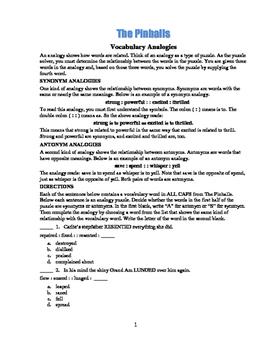 The Pinballs: 50 Vocabulary Analogies—Mix & Match!