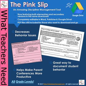 The Pink Slip (Editable!) - Amazing Discipline Management Tool! All Grades