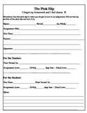 The Pink Slip Missing Assignment Form