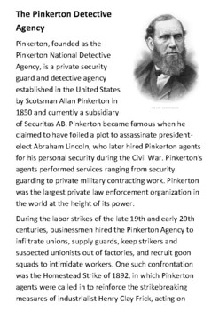 The Pinkerton Detective Agency Handout