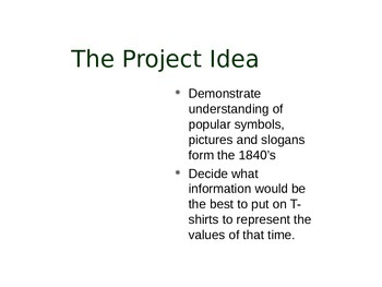 The Pioneer T-Shirt Project Power Point