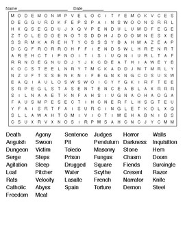 The Pit and the Pendulum E A Poe Crossword Puzzle and Word Search