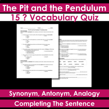 the pit and the pendulum vocabulary quiz by creativity and rh teacherspayteachers com Drawings and the Pendulum the Pit The Pit and Pendulum Art
