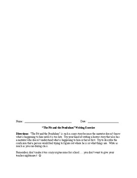 The Pit and the Pendulum Word Search and Writing Activity