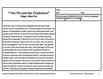 """Pit and the Pendulum"" by Edgar Allan Poe: Annotation Organizer"
