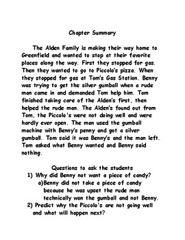 The Pizza Mystery - Boxcar Children - Chapter Summary Page - Teacher Edition