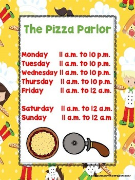 The Pizza Parlor Dramatic Play and Writing Center Pocket Chart Cards
