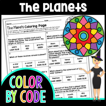 THE PLANETS SCIENCE COLOR BY NUMBER, QUIZ