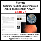The Planets Of Our Solar System - Science Reading Article - Grades 5-7
