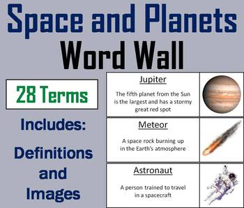 Space, Solar System and Planets Word Wall Cards