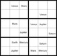 The Planets: Sudoku Puzzles. Learn the names, order and how to spell each planet