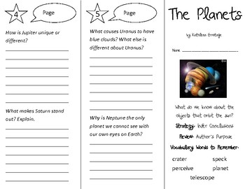 The Planets Trifold - 3rd Grade Literacy by Design Theme 11