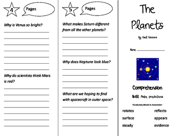 The Planets Trifold - Storytown 3rd Grade Unit 6 Week 4