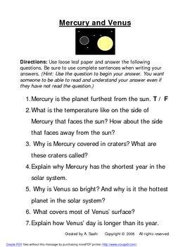 The Planets (Unit Extension Handouts)