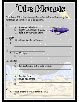 The Planets by Gail Gibbons Text Outline for Solar System Unit