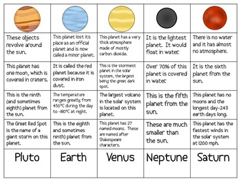 the planets in our solar system sort packet by smart chick tpt. Black Bedroom Furniture Sets. Home Design Ideas