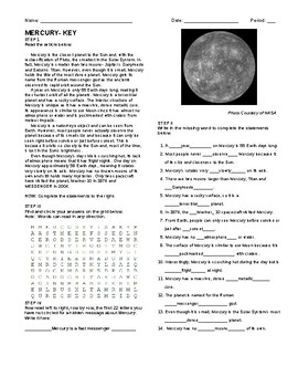 The Planets of the Solar System Activity Packet with Key