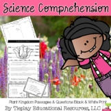 The Plant Kingdom Science Passages and Questions Activity in black and white