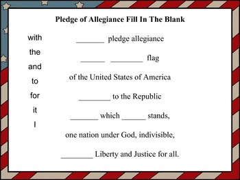 The Pledge of Allegiance Fill In The Blank Activity Sheet