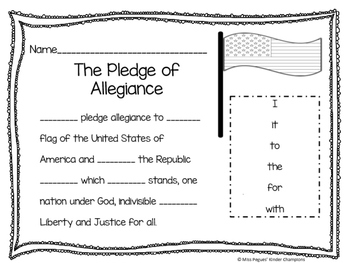 The Pledge of Allegiance Fill in the Blank