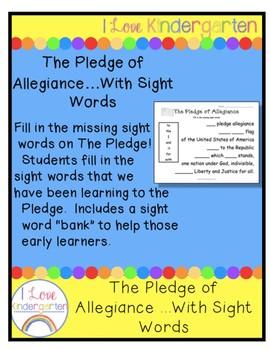 The Pledge Of Allegiance With Sight Words By Ilovekindergarten