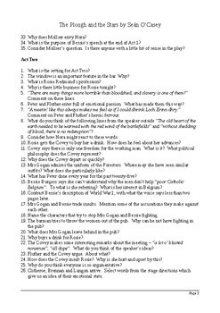 The Plough and the Stars by Sean O'Casey - Comprehension Questions